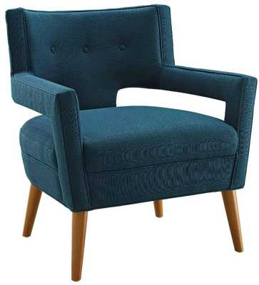 SHEER UPHOLSTERED FABRIC ARMCHAIR IN AZURE - Modway Furniture