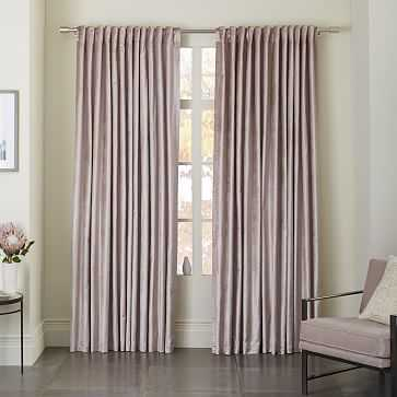 "Cotton Luster Velvet Curtain + Blackout Panel, Dusty Blush, 48""X96"" - West Elm"