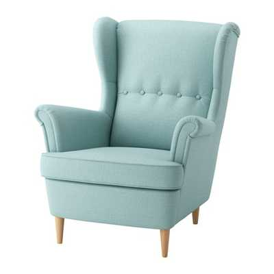 STRANDMON Wing chair, Skiftebo light turquoise - Ikea