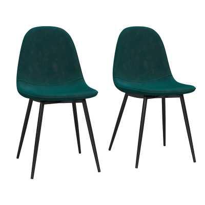 Bowen Upholstered Dining Chair - set of 2, green velvet - Wayfair