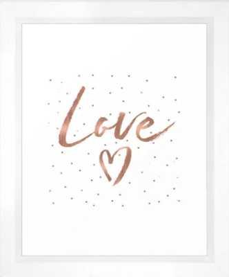Rose Gold Glam Love Heart Confetti Framed Art Print - Society6