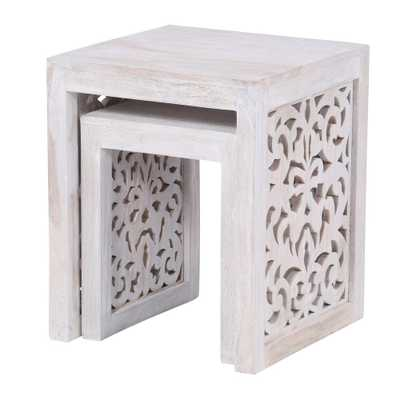 Maharaja Sandblasted White 2-Piece Nesting End Table - Home Depot