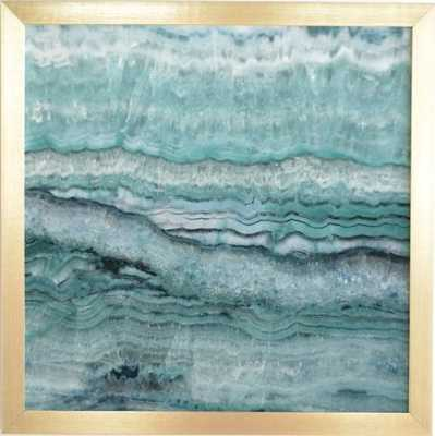 MYSTIC STONE AQUA TEAL Gold Framed Wall Art - Wander Print Co.