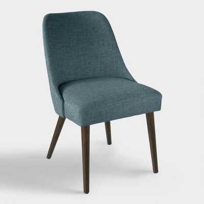 Linen Blend Kian Upholstered Dining Chair: Blue - Fabric - Navy by World Market Navy - World Market/Cost Plus