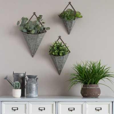 3-Piece Triangular Galvanized Metal Wall Planters - Home Depot