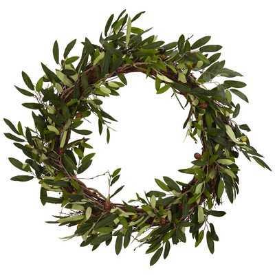 "20"" Faux Olive Branch Wreath - Birch Lane"