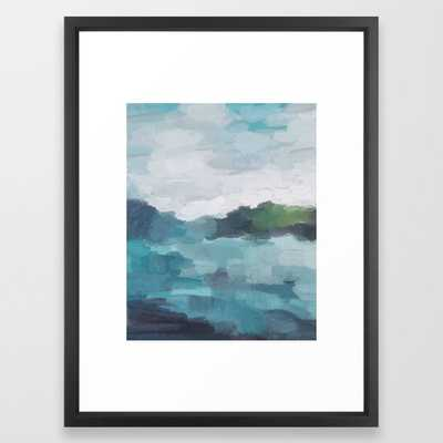Aqua Blue Green Abstract Art Painting Framed Art Print - Society6
