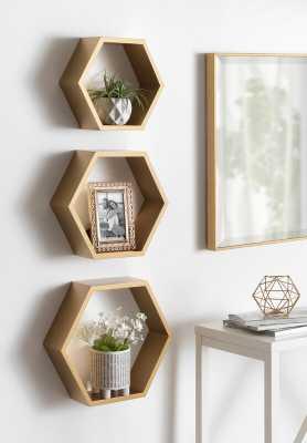 Maebry Hexagon Wood 3 Piece Wall Shelf Set - Wayfair
