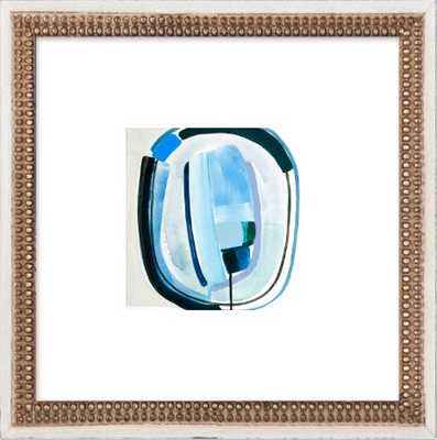 """Blue Eyes II - 14x14"""" - Distressed Cream Double Bead Wood Frame with Matte - Artfully Walls"""