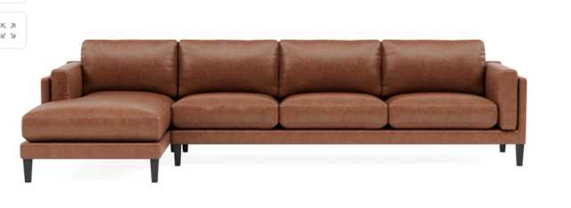GABY LEATHER Leather 4-Seat Left Chaise Sectional - Interior Define