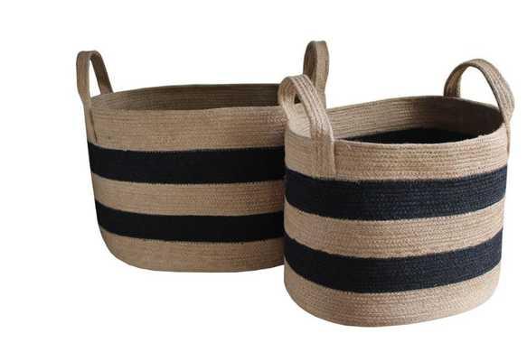 Striped Woven Jute Basket - High Street Market