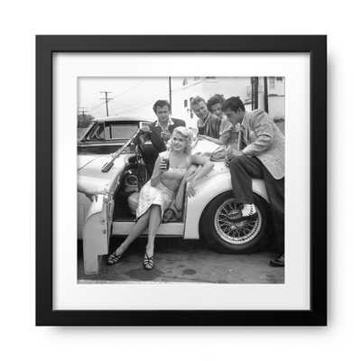 """Jayne Mansfield and Natalie Wood with Lance Fuller, John Smi- 16.5""""x16.5""""- Matte Black frame with mat - Photos.com by Getty Images"""