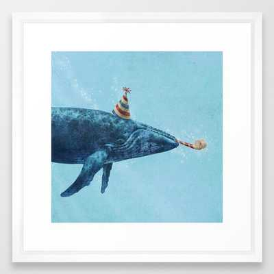"Party Whale by Terry Fan- Framed Art Print- 20"" X 20"" - Society6"