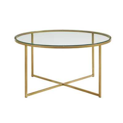 36 in. Glass/Gold Coffee Table with X-Base - Home Depot
