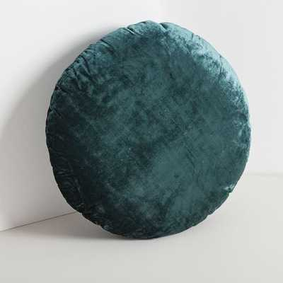 Round Lush Velvet Pillows, Astor Blue - West Elm