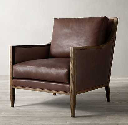 FRENCH CONTEMPORARY SLOPE LOW BACK LEATHER CHAIR - RH