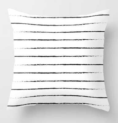 Minimal Simple White Background Black Lines Stripes Throw Pillow - Society6