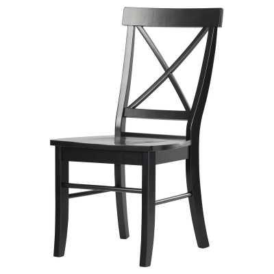 Sawyer Cross Back Solid Wood Dining Chair, (set of 2), Black - Wayfair