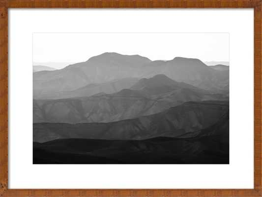 """Mountains of the Judean Desert - 28 x 20 - Contemporary - Brown wood, frame width 0.25"""", depth 0.75"""" - With Matte - Artfully Walls"""