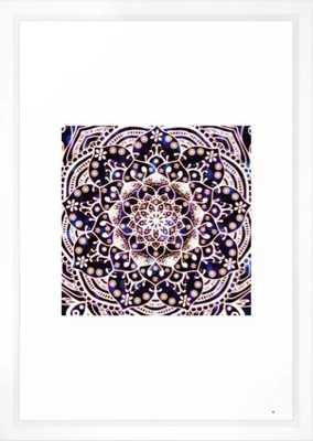 'Glowing Namaste' Blue Purple Pink White Mandala Framed Art Print - Society6