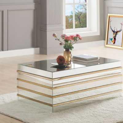 Rillie Modern Rectangular Metal and Mirror Coffee Table - Wayfair
