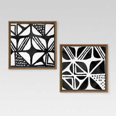 "Mud Cloth IV & III Framed Canvases 12""x12"" 2pk - Threshold - Target"