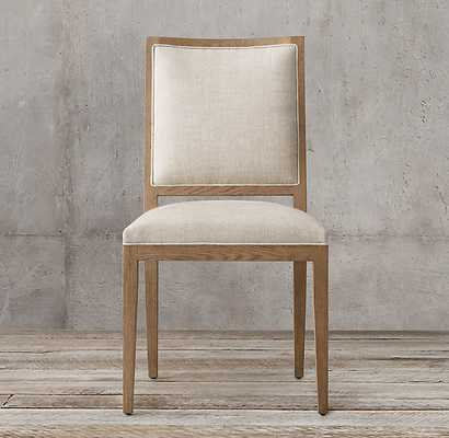 FRENCH CONTEMPORARY SQUARE FABRIC SIDE CHAIR - RH