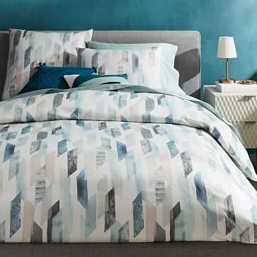 Organic Sateen Crystal Geo Duvet, Full/Queen, Dusty Blue - West Elm