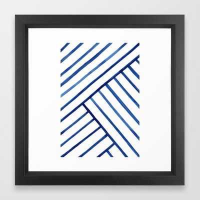 Watercolor lines pattern   Navy blue Framed Art Print - Society6