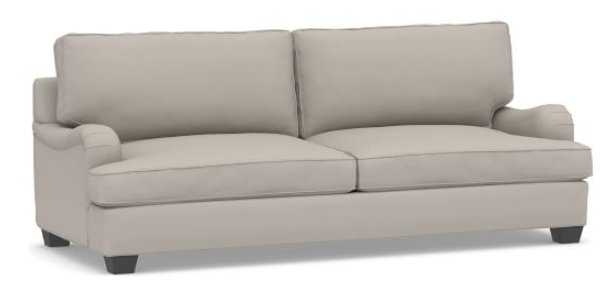 "PB English Arm Upholstered Grand Sofa 90"", Box Edge Polyester Wrapped Cushions, Performance Twill Silver Taupe - Pottery Barn"