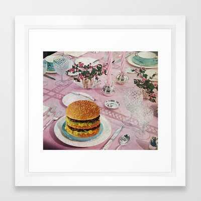 """BURGER Framed Art Print- Mini - 12"""" X 12""""- Vector White - Society6"""