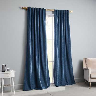 Textured Weave Curtain + Blackout Lining - Shadow Blue - West Elm