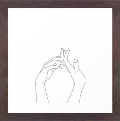 Hands line drawing illustration - Abi Framed Art Print - Society6