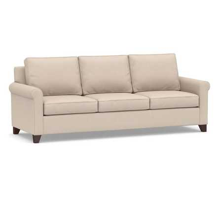 "Cameron Roll Arm Upholstered Sofa 88"" /  Polyester Wrapped Cushions, Sunbrella® Performance Sahara Weave Oatmeal - Pottery Barn"