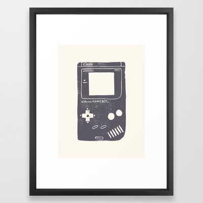 "Game Boy Framed Art Print- Vector Black- 20"" X 26"" - Society6"