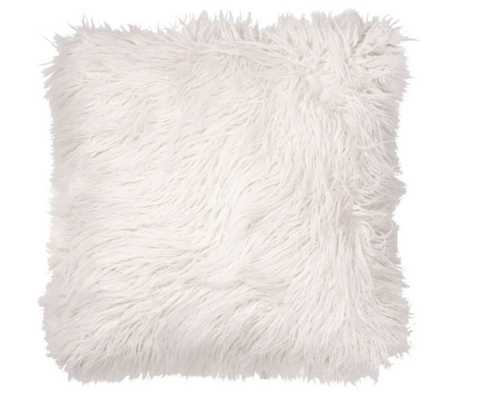 Faux Fur Floor Throw Pillow in White - Bed Bath & Beyond