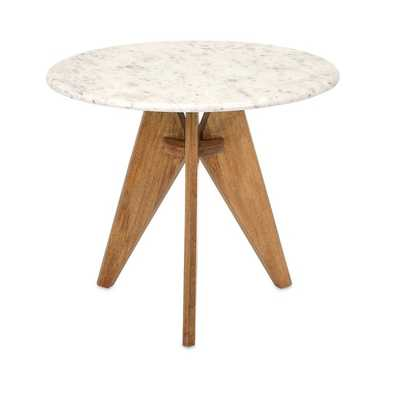 Febe Tall Marble and Wood Table - Mercer Collection