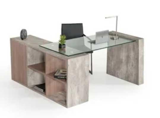 Nova Domus Boston Modern Glass and Concrete Desk - Overstock