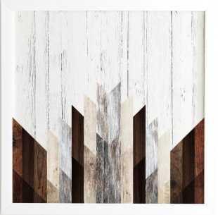 GEO WOOD 3 Framed Wall Art -11'x14' - Basic white frame - Wander Print Co.