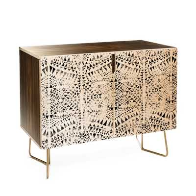 Schatzi Brown Tribal Triangles white black Credenza with Gold Aston Legs - Wander Print Co.