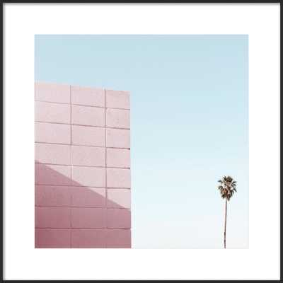 Pink Wall and Palm Tree in Palm Springsatte- Framed Art-  Matte Black Metal Frame- 24''X24'' - Artfully Walls