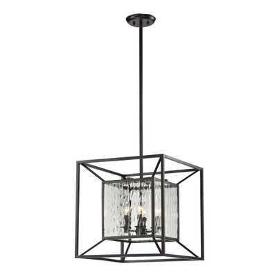 CUBIX 4 LIGHT PENDANT IN OILED BRONZE AND CLEAR WATER GLASS - Rosen Studio