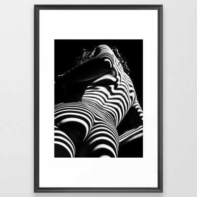 2070-AK Woman Nude Zebra Striped Light Curves around Back Butt Behind Naked Art Framed Art Prin - Society6