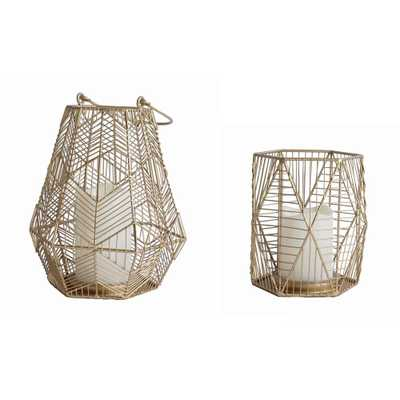 StyleWell Gold Metal Lantern (Set of 2) - Home Depot