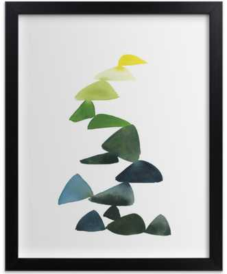 """Triangles In Green And Yellow Art, 11"""" x 14"""" - Minted"""