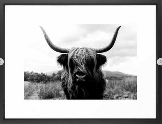 Scottish Highland Cattle Black and White Animal Framed Art Print 20 x 26 - Society6