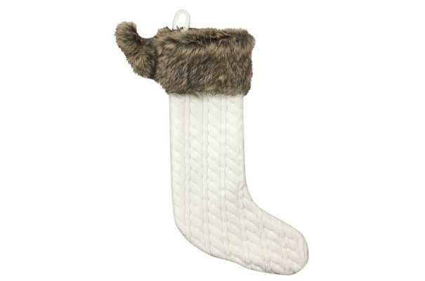 20in Cable Knit Christmas Stocking with Faux Fur Cuff & Pompoms Cream - Wondershop™ - Target