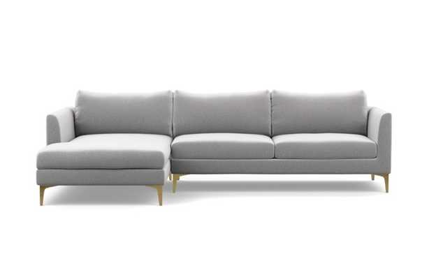 Owens Chaise Sectional with Ash Fabric and Brass Plated legs - Interior Define