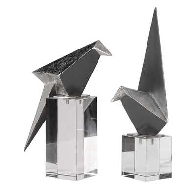 Origami Bird Figurines, S/2 - Hudsonhill Foundry