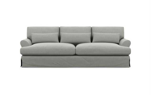 Maxwell Slipcovered Sofa in Ecru Fabric with Matte Black with Brass Cap legs - Interior Define